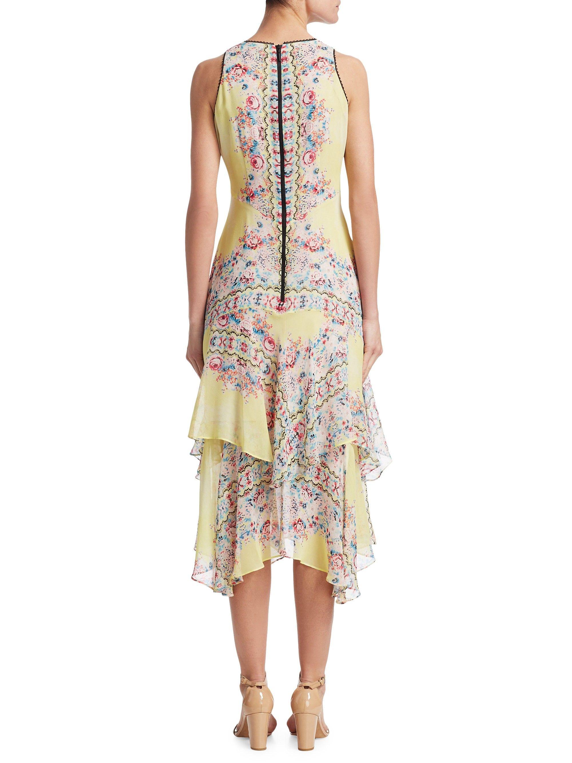 Nanette Lepore Canary Silk Dress Yellow Multi 10