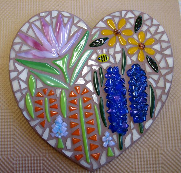 Fused Flowers Heart Mosaic Grouted | Flickr - Photo Sharing!
