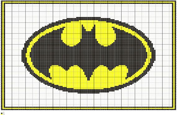 Knit Batman Symbol Graph Intarsia Knitting Chart By Fadesigncharts