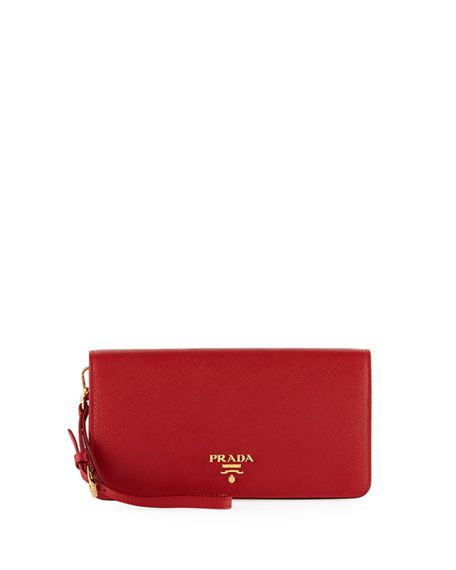 3d07f17756 PRADA Saffiano Flap Phone Wristlet Wallet W/ Crossbody Strap, Red ...