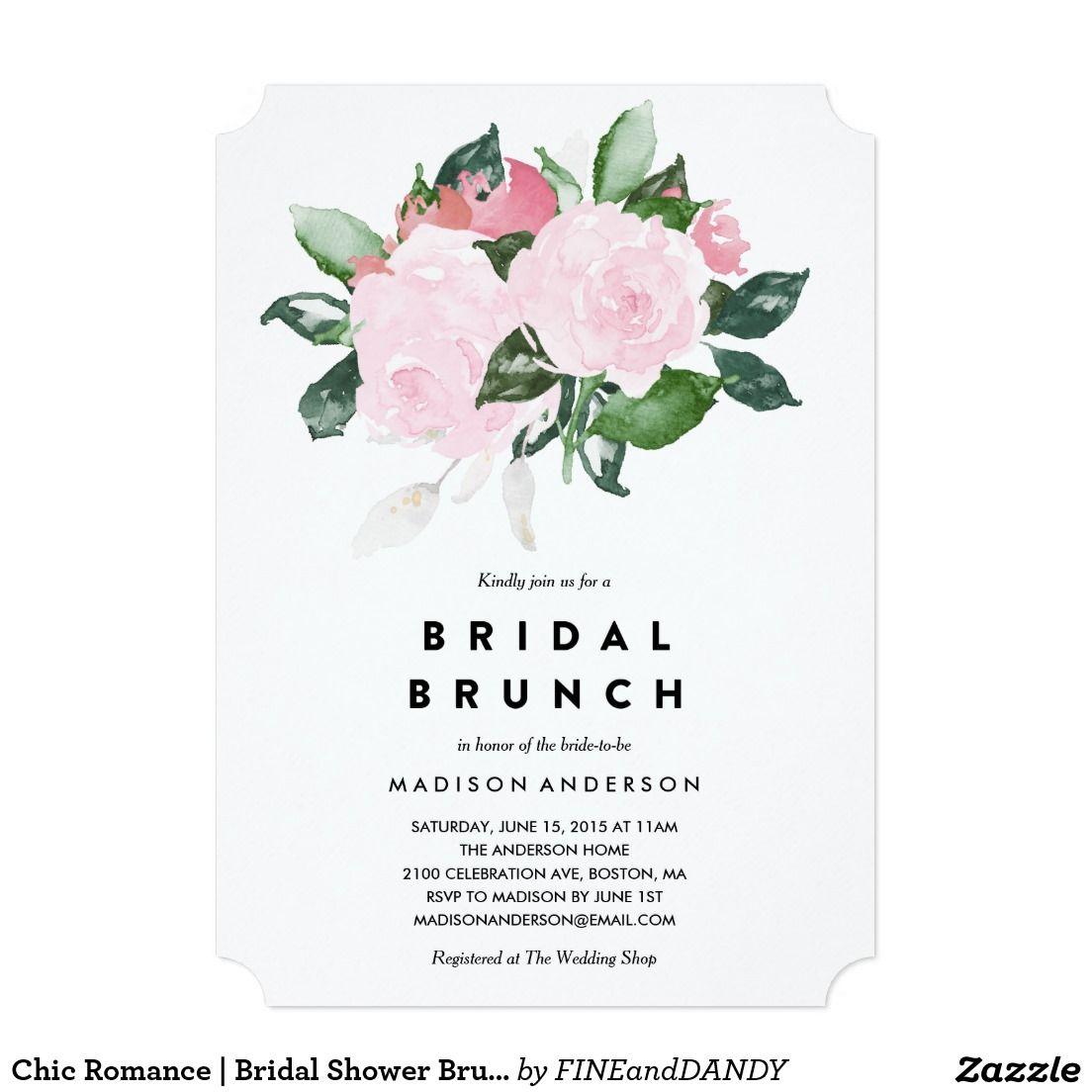 Chic Romance Bridal Shower Brunch Invitation Brunch Invitations