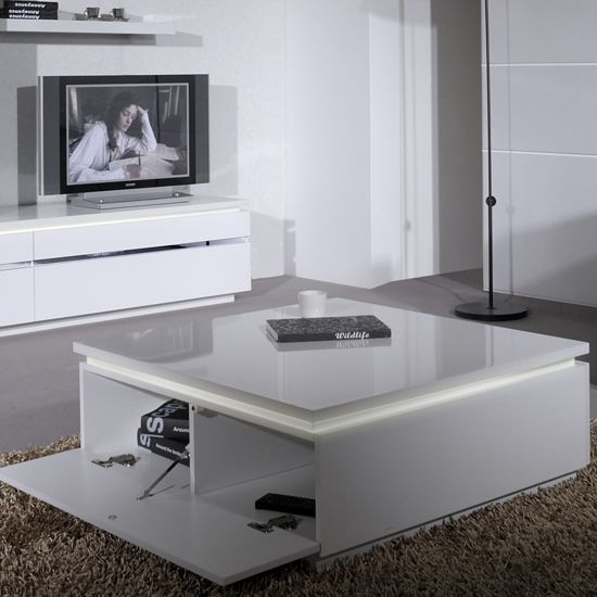 Elisa White Square Coffee Table in Gloss White living room