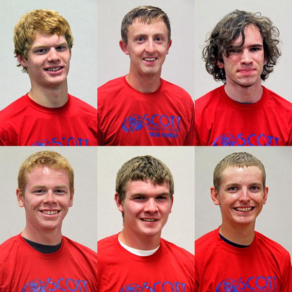Men's Cross Country team: Garrett Duncan, Jacob Schmelzer, Nathan Dodd, Slater Marshall, Tristan Peterson and Tyler Carlson