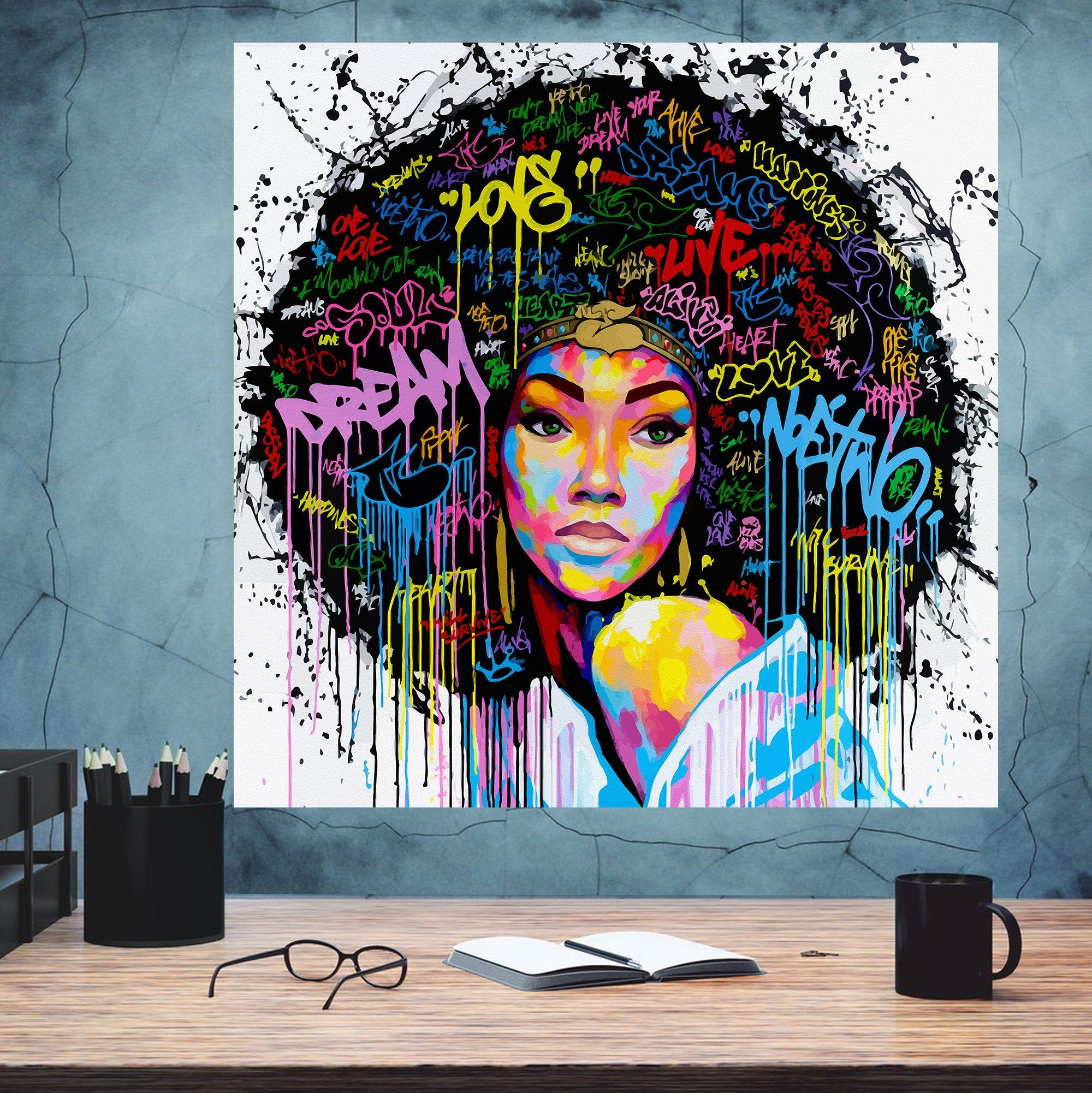 African American Woman Art Beauty Woman African Art Black Etsy Wall Art Pictures Poster Decorations African Art