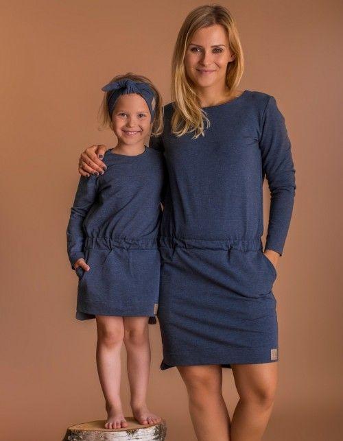 a50e09e7c9e3dd Sukienka z gumą granat melanż | Mama i Córka | Mother & Daughter ...