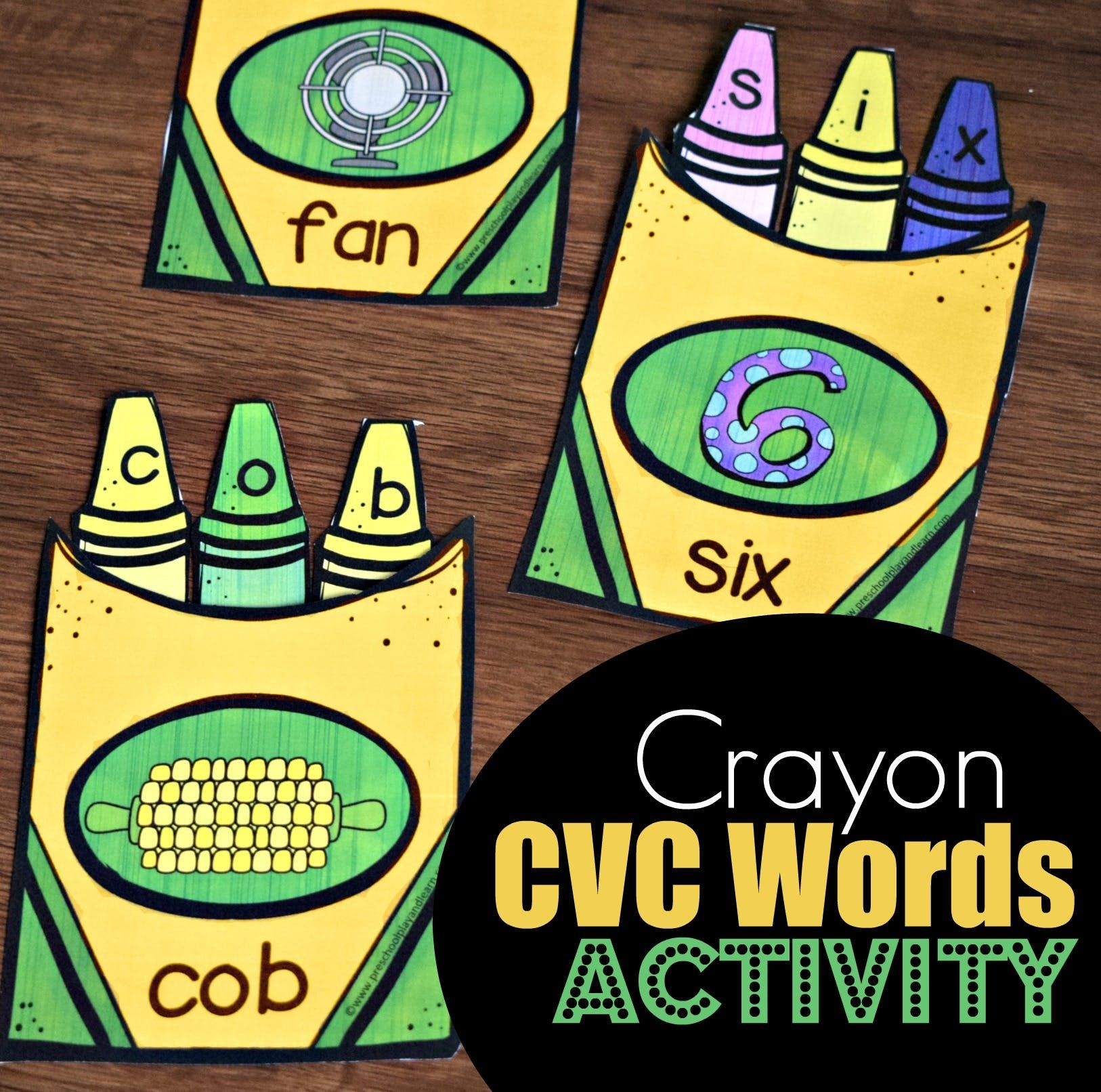 Crayon Cvc Words Activity With Images