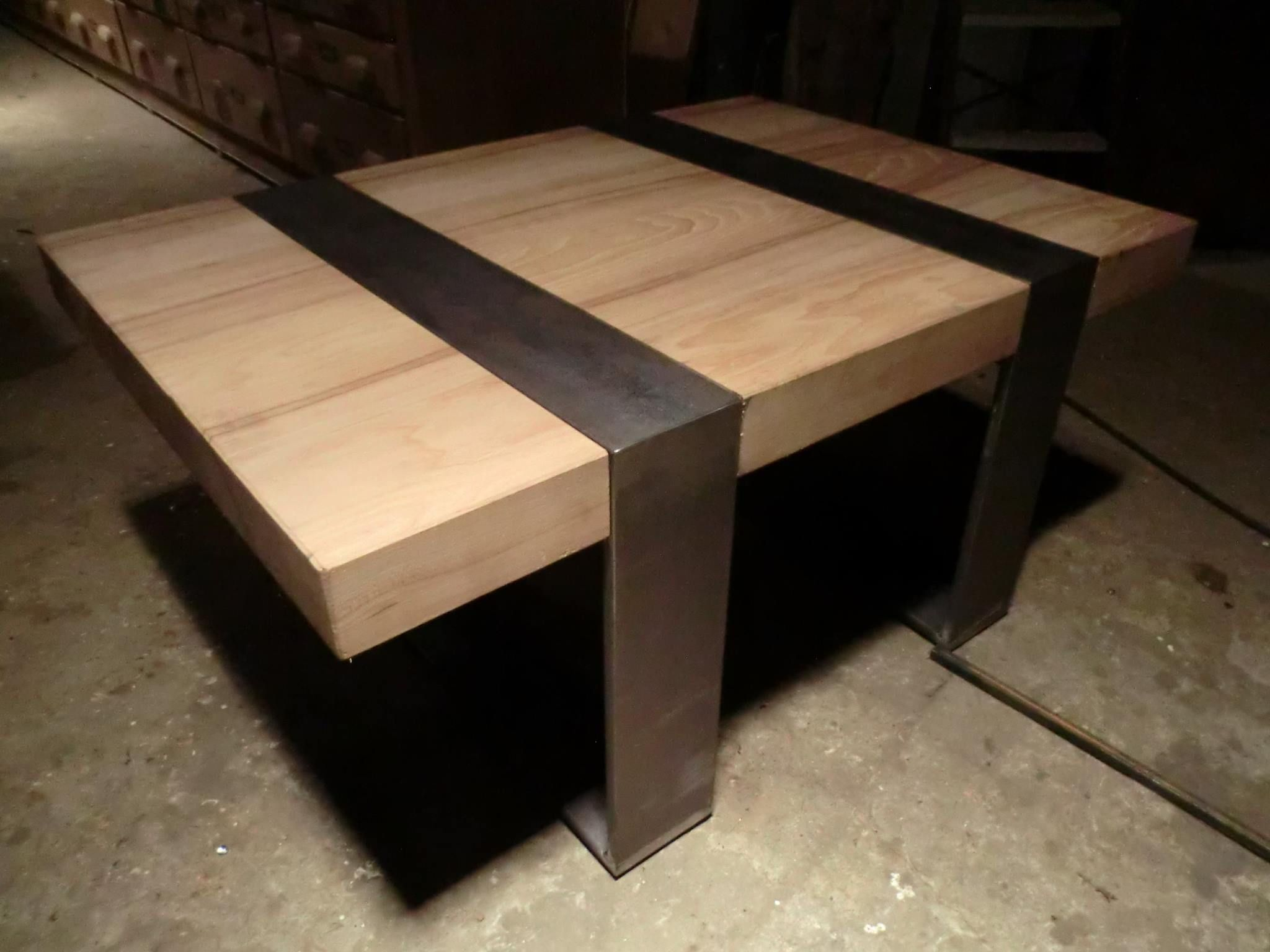 table basse creation sortie d usine morgny 27150 acier bois 1000 x 700 x 45 de haut