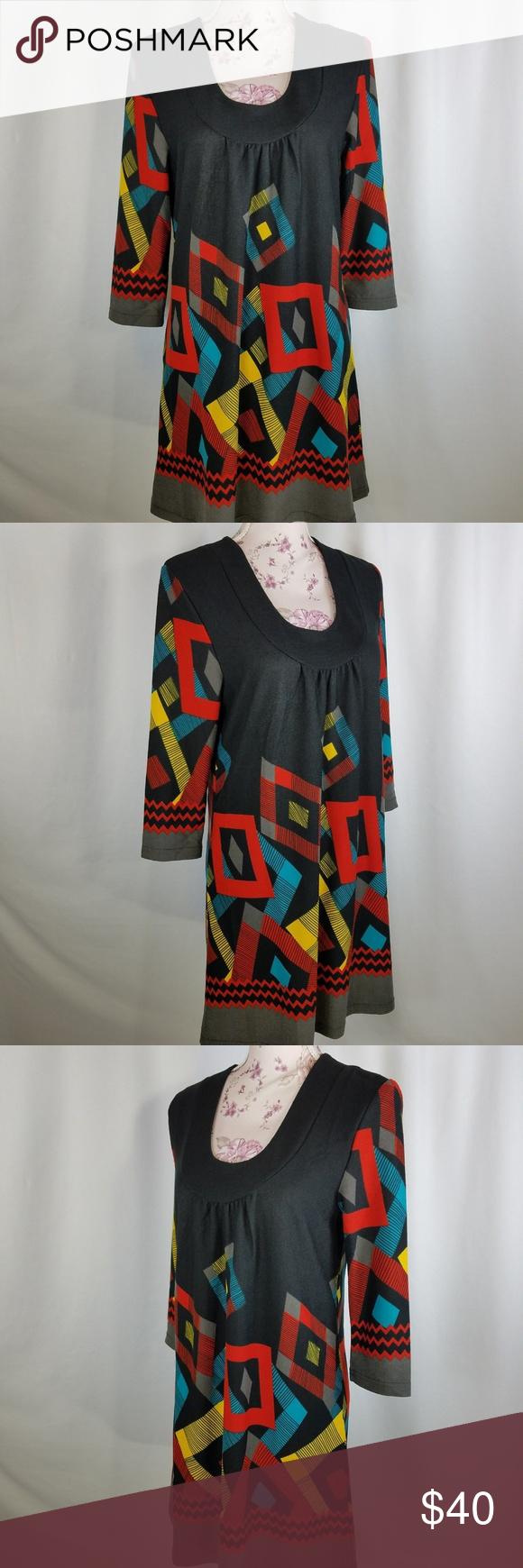 3a3ccdbe648 Papillon Black Geometric Long Sleeve Size M Dress Black Red Papillon Size M  Shift Dress Scoop