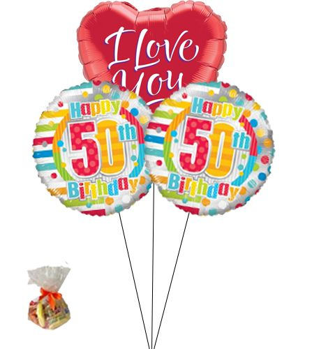 Happy 50th Birthday Sweet Balloon With I Love You BalloonBunch Of Three