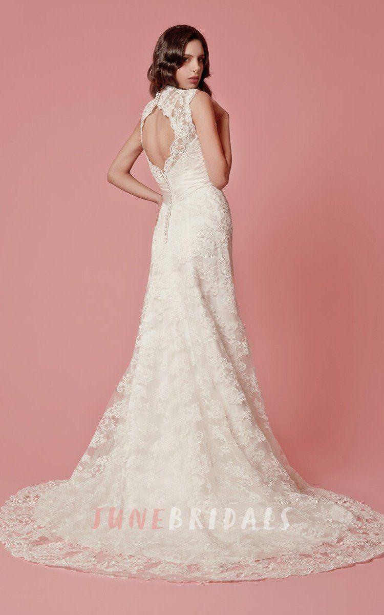 Sleeveless aline lace long dress with scallopededge neckline