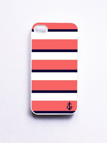 Nautical iPhone 4 Case / iPhone 4S Case -  Coral & Navy  Anchor iPhone Case