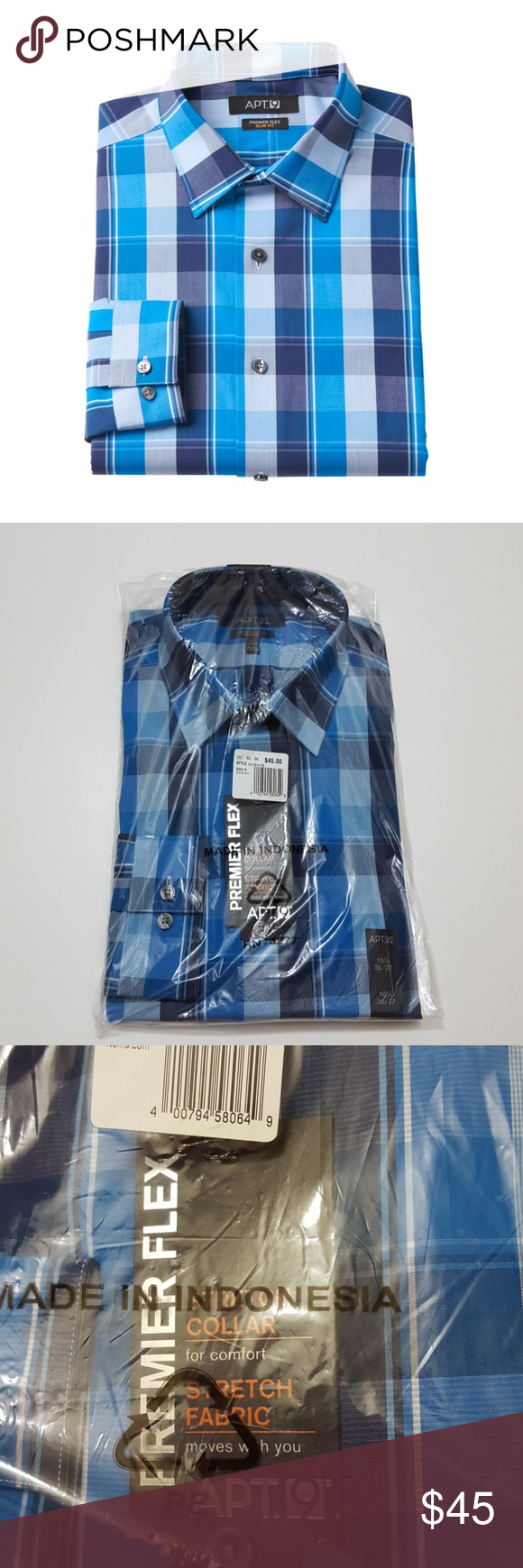 Apt 9 165 Neck 3637 Sleeve Button Up Mens Nwt Dress Shirts