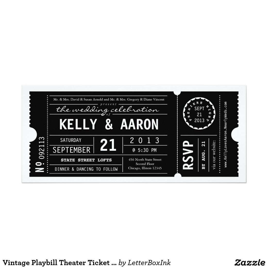 Vintage Playbill Theater Ticket Wedding Invitation Weddings