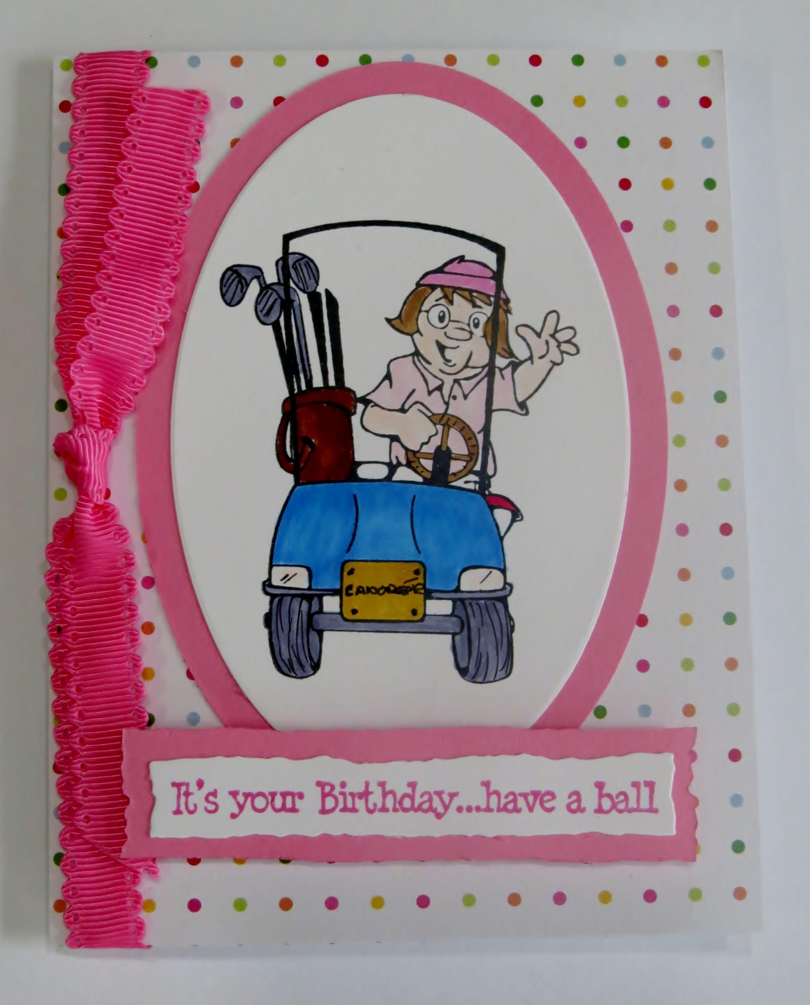 Handmade Card Fun Female Golf Birthday