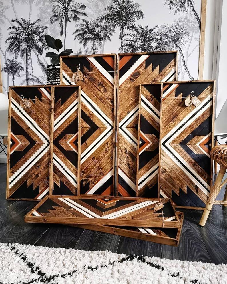 Boho artset of twoburnt orange tribal woodaztec wood