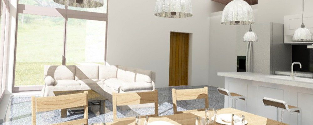 3D #visualization of #interior #cottage with big #glasses heading