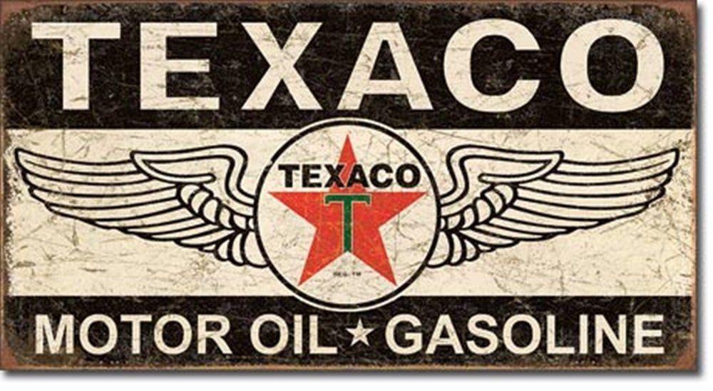 Texaco Motor Oil Round Metal Sign Tin Vintage Garage Auto Gas Oil Station Shop