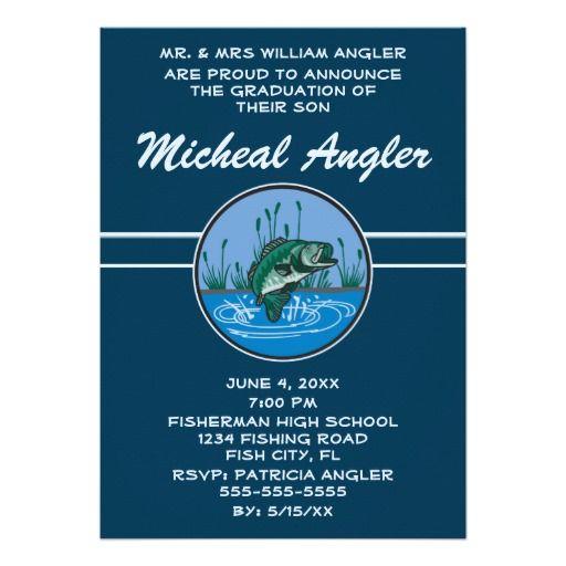 Bass Fish Fishing Angling Graduation Invitation Invitations The o
