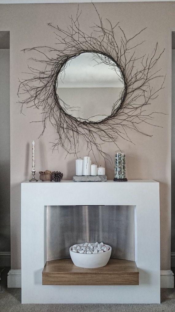 Unique Large Handmade OOAK Silver Birch Tree Branch Round Mirror Sunburst