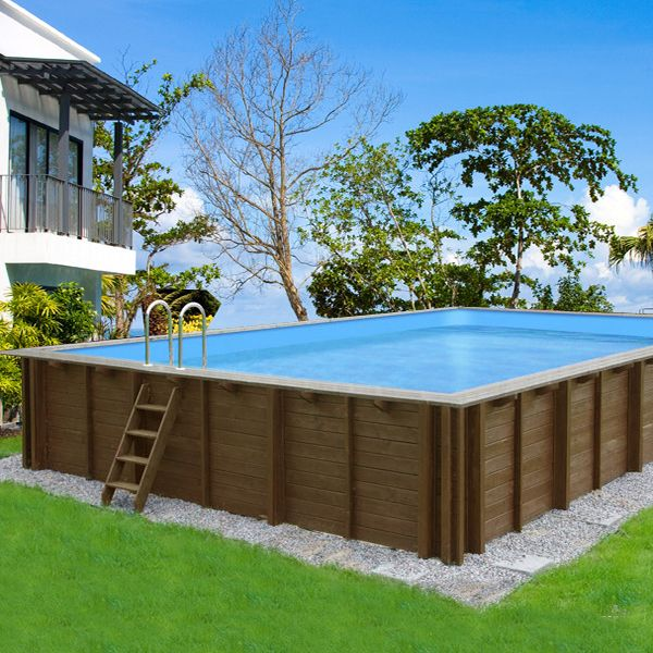 Piscine bois en kit rectangle  - piscine hors sol beton aspect bois