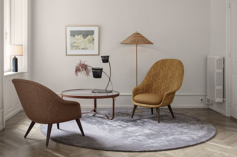 bat living room decorating ideas for small apartment rooms lounge chair fully upholstered high back conic base gubi by gamfratesi andet coffee table jacques adnet mategot flower pot mthieu and 9602 floor lamp paavo tynell