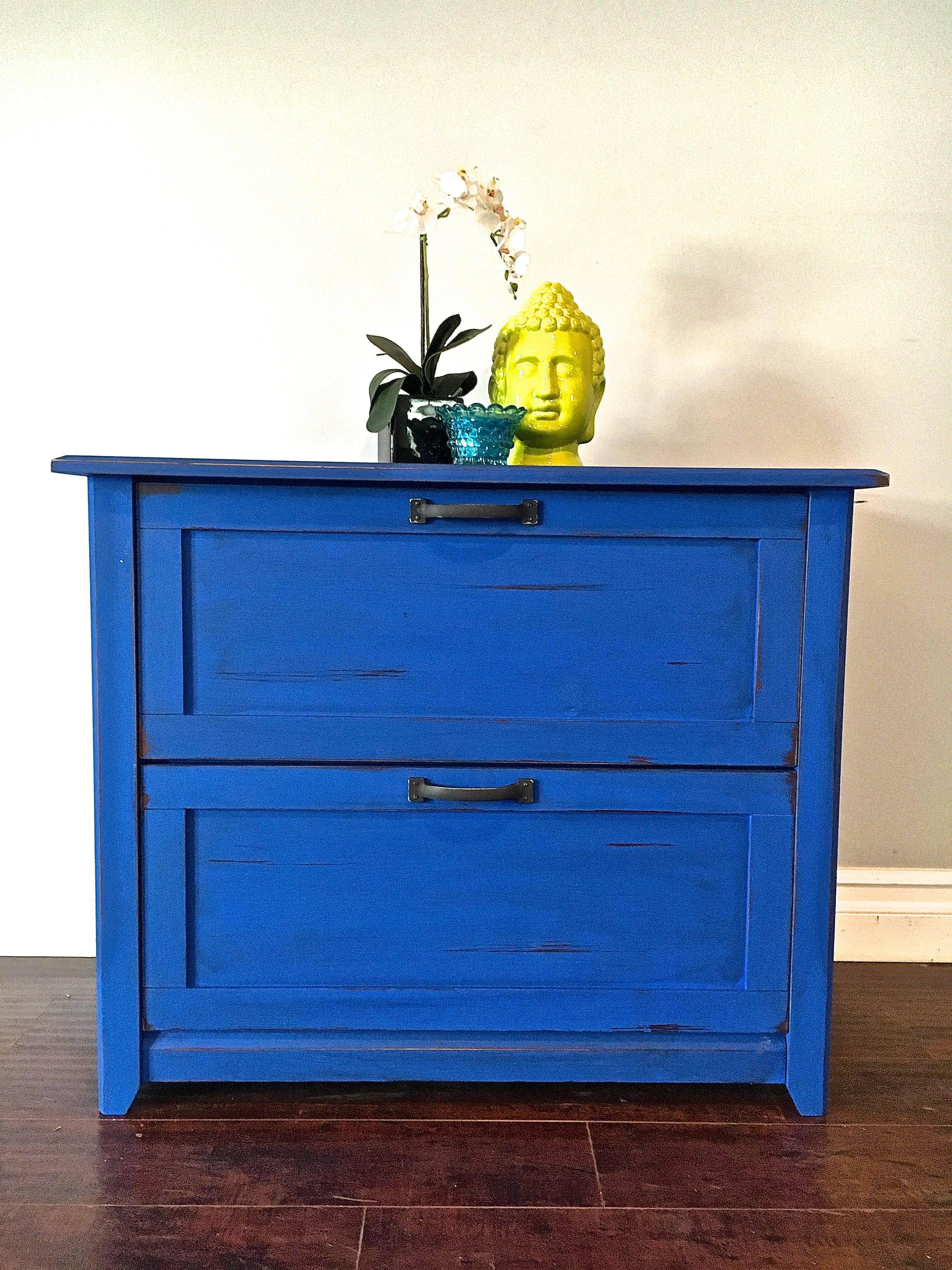 shabby chic electric blue black small dresser cabinet tv stand rh pinterest com
