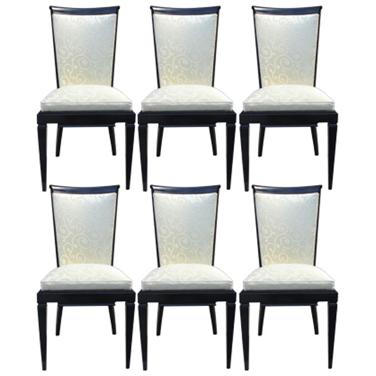 Set 6 French Art Deco Black Lacquered Dining Chairs  Refinished
