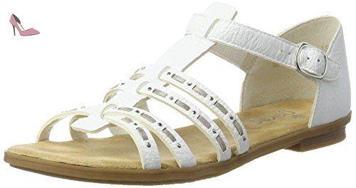 Rieker 64274, Sandales Bout Ouvert Femme, Blanc (Weiss/Grey/80), 37 EU