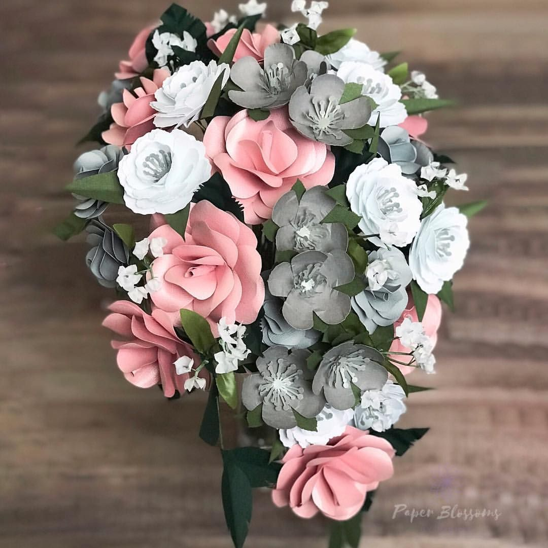 Pink And Frosty Tones Paper Flower Bridal Bouquet Made By Hand In Kalamazoo Mi By Paper Blossoms By Michal Wedding Flowers Paper Flowers Bridal Bouquet