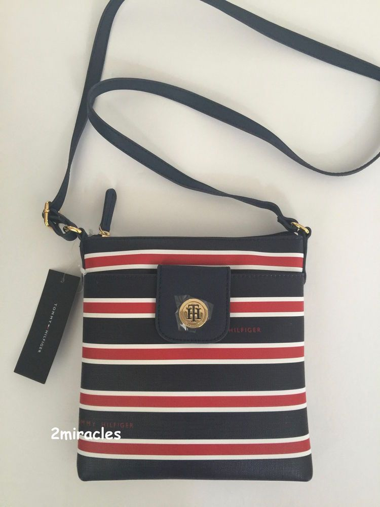 366e327ac46 NWT Tommy Hilfiger Red White & Blue Striped Crossbody Shoulder Messenger Bag  #TommyHilfiger #MessengerCrossBody