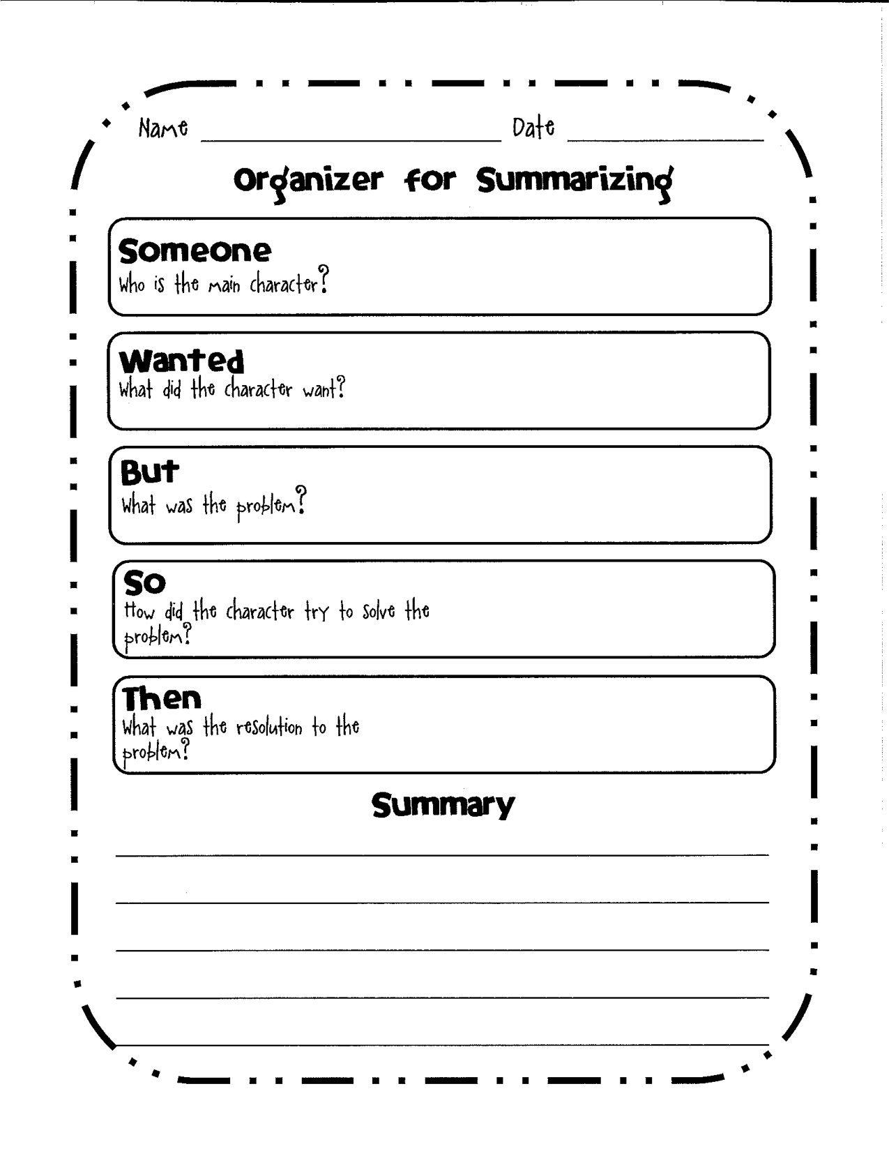 Organizer For Summarizing A Graphic Organizer To Help