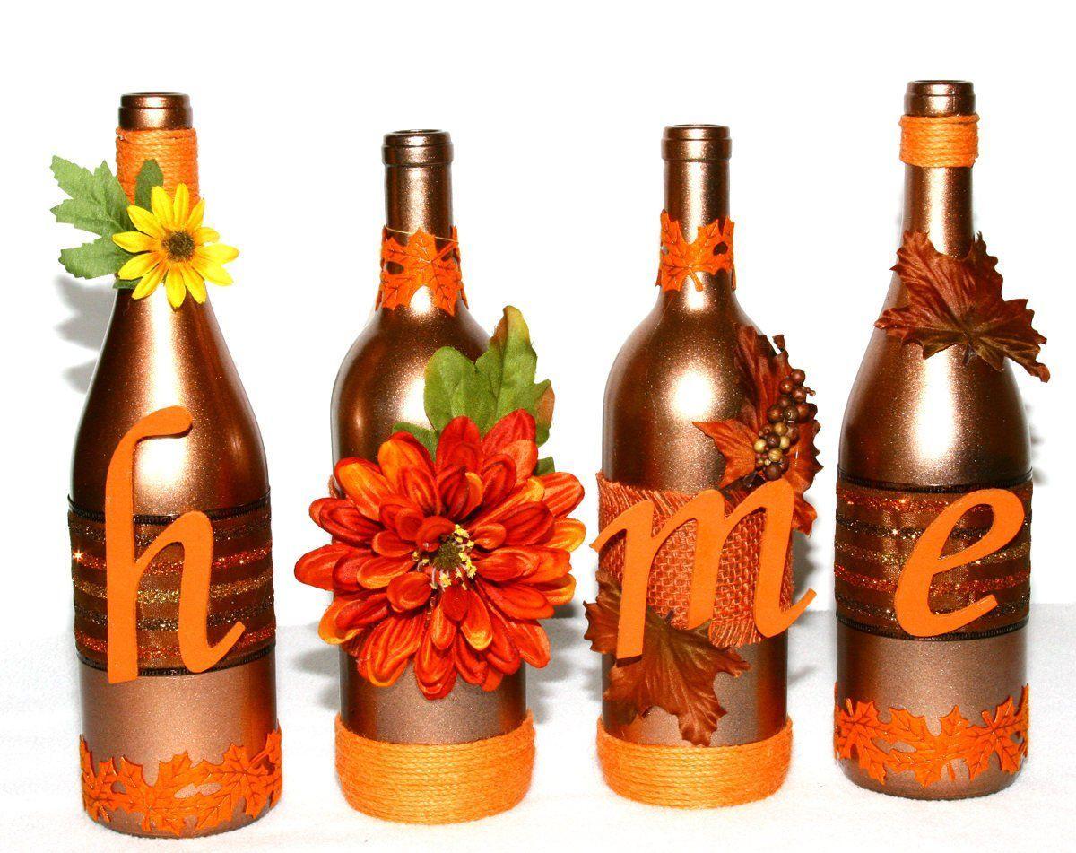 Decorated Wine Bottles Home Orange Fall Colors Floral Custom Wine Bottles Gift Thanksgiving Tabletop Center Fall Wine Bottles Glass Bottle Diy Wine Bottle Gift