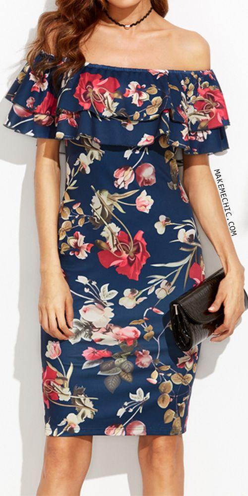 d0b0d2906b7d Floral Print Off The Shoulder Ruffle Sheath Dress