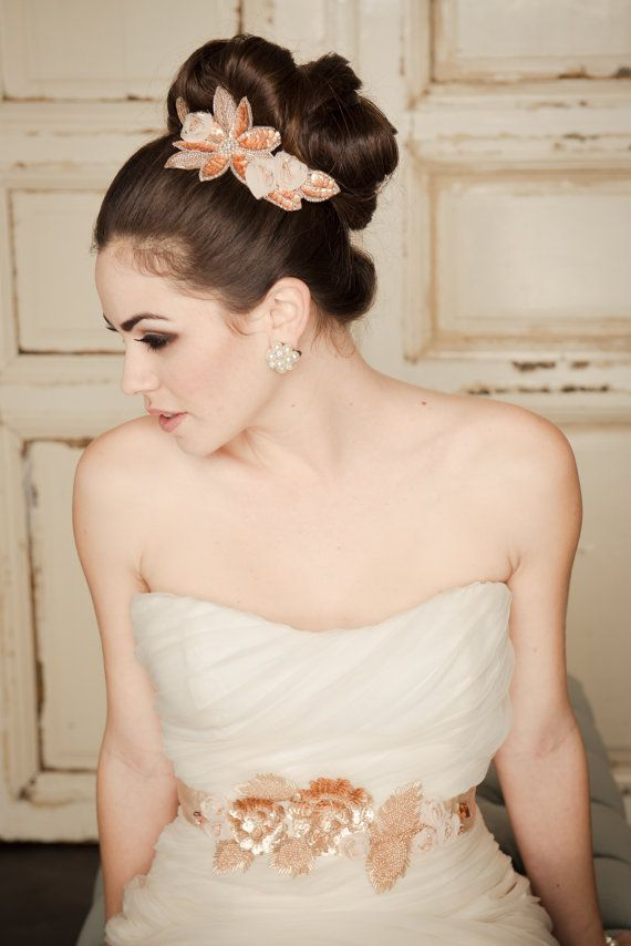 Hair Accessories Bridal Comb Rose Gold Wedding Accessory Floral Beaded For