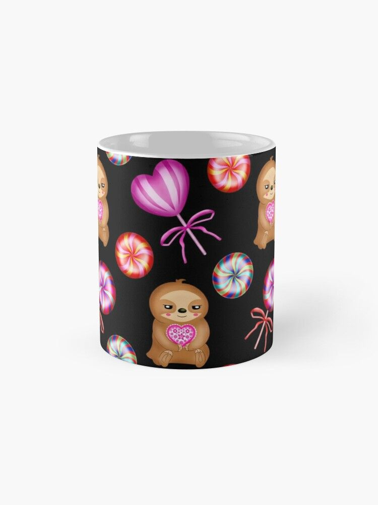 'Funny happy little pink baby sloths holding pink hearts. Sweet vintage retro lollipops. Cute girly black adorable pattern design. Gift ideas for sloth and candy lovers. Nursery decor.' Mug by MerveilleDesign #hellodecember