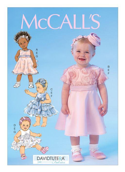 McCalls Schnittmuster M7037/YA5 Baby-Kleid, Höschen und Kopfband ...