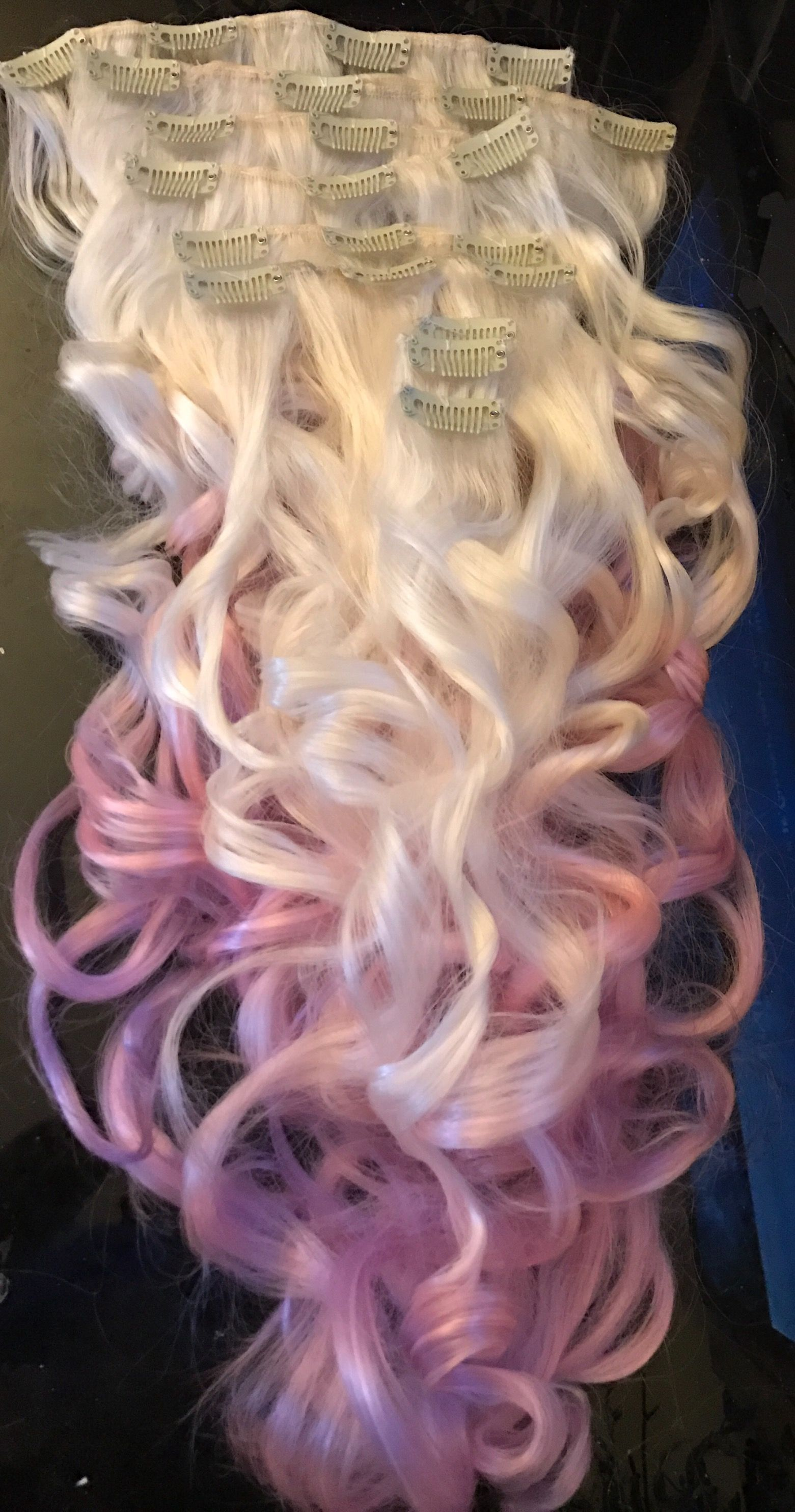Unicorn Hair Clip In Wavy Platinum Blonde To Pastel And Pink Ombr