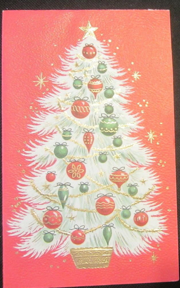 Vintage christmas greeting card embossed ornaments on white tree and vintage christmas greeting card embossed ornaments on white tree and gold trim m4hsunfo
