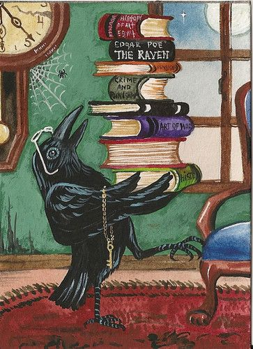 Time for Learning © Margaryta Yermolayeva, artist. Crow. Raven.  Poe. Stack of Books. Clock. Spiderweb.