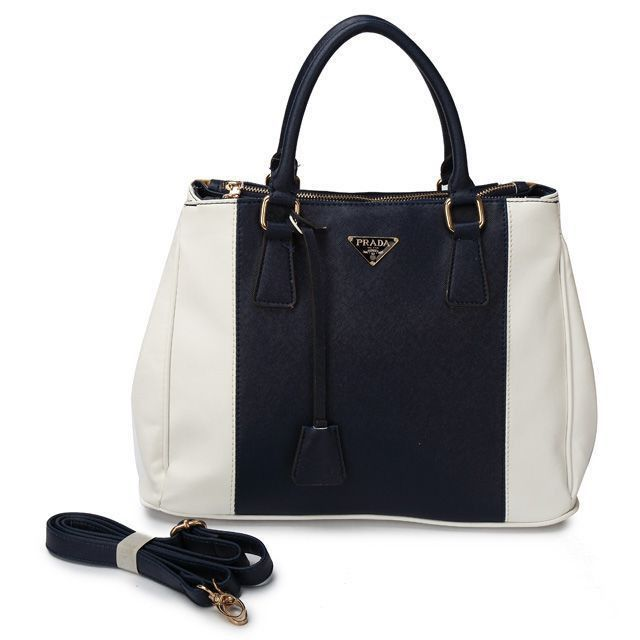 de5a834fd84a Cheap Prada Saffiano Black White Bicolor Double Zip Tote Pin It PRADA14215