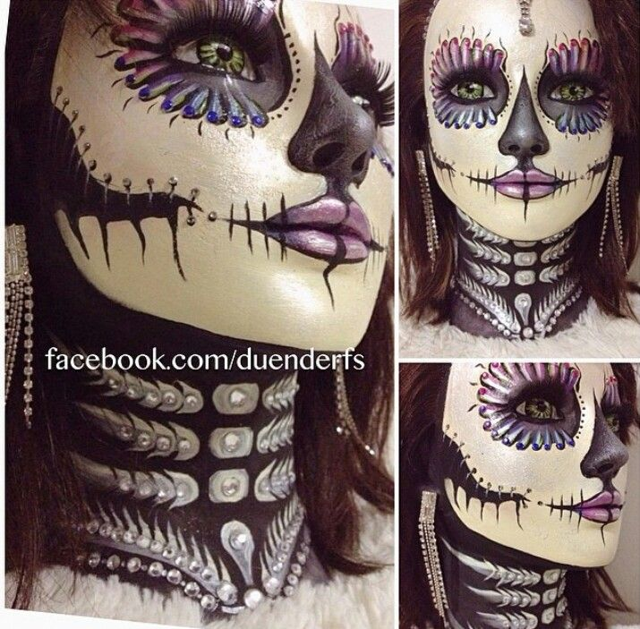 Day of the dead makeup sugar skull makeup halloween makeup. Someone did an incredible job with this look !