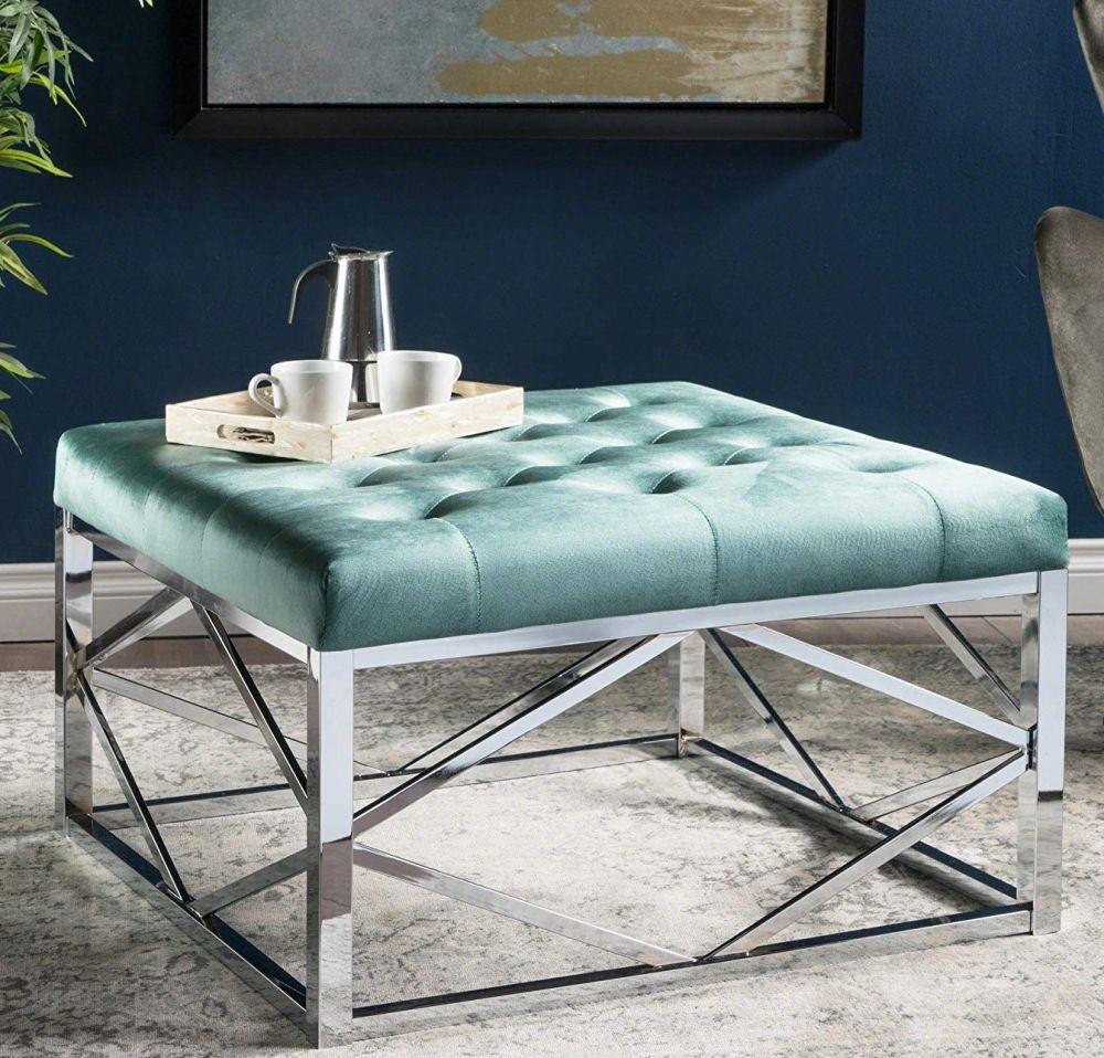 Strange Talia Modern Glam Tufted Velvet Ottoman With Frame In 2019 Inzonedesignstudio Interior Chair Design Inzonedesignstudiocom
