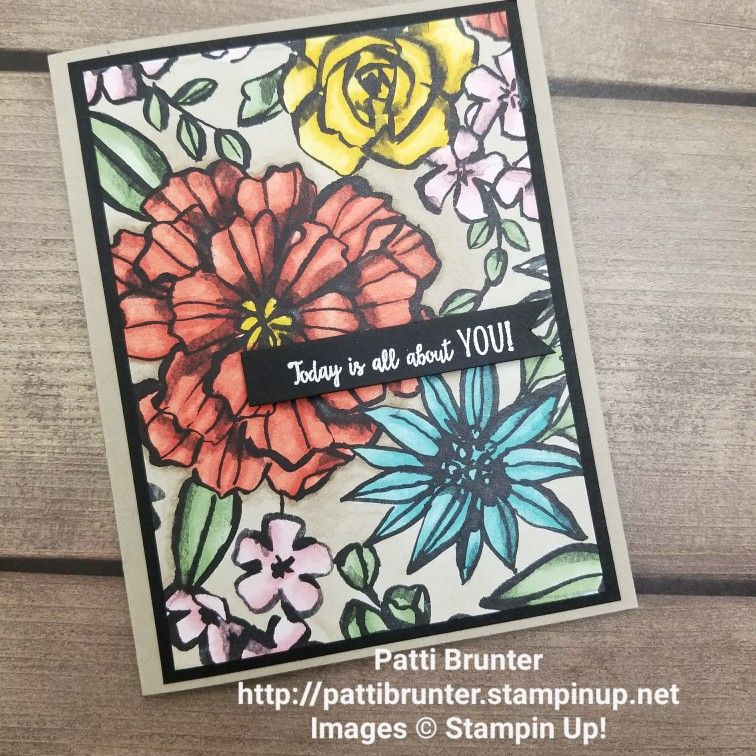 Stampin Up Petal Passion Dsp Stampin Blends Birthday Card Card