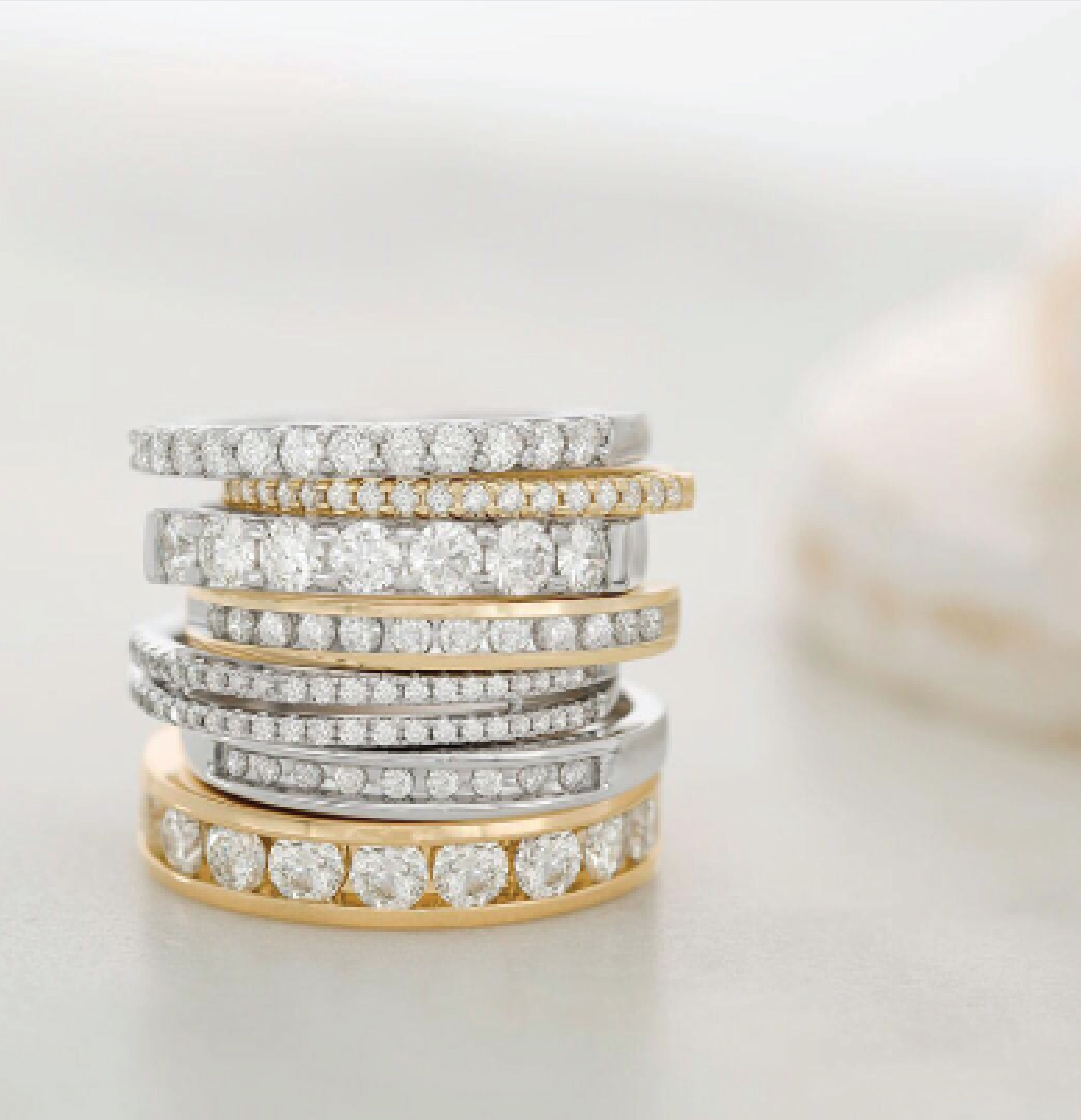 Stacked Lovezales Mixedmetals Yellowgold Whitegold Fashion Rings Pretty Rings Luxe Jewelry