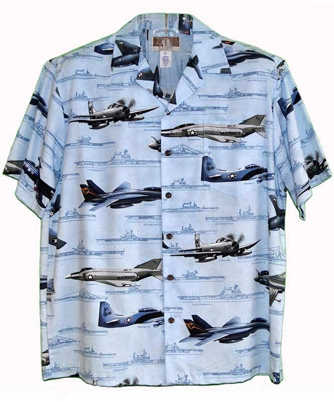 1da75f679183a7 The Naval Aviation Hawaiian shirt features some of the Navy's most famous  planes and ships from World War II until Vietnam. The shirt is 55% cotton  and 45% ...