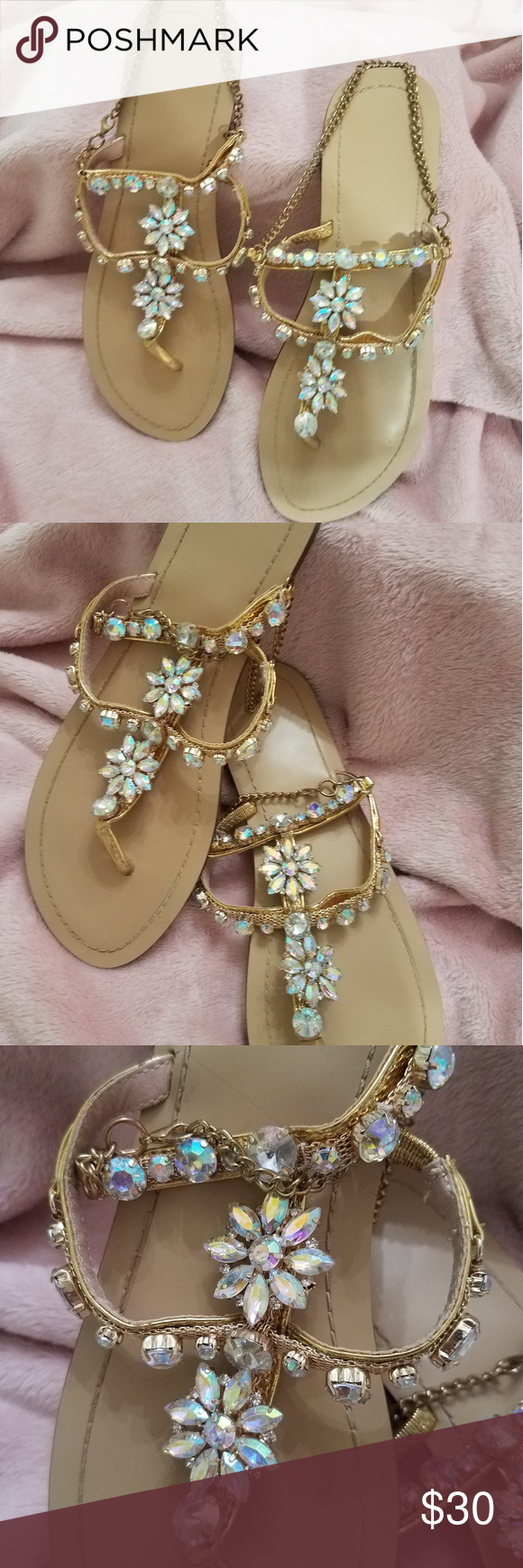 Gorgeous Jeweled Sandals Absolutely gorgeous Jeweled Sandals. Gold chain around ankle. Worn only one time for my honeymoon. Perfect for a beach wedding, honeymoon, bridal shower or any event. Your jeweled feet will be the star of your event!  Gorgeous Jeweled Sandals Absolutely gorgeous Jeweled Sandals. Gold chain around ankle. Worn only one time for my honeymoon. Perfect for a beach wedding, honeymoon, bridal shower or any event. Your jeweled feet will be the star of your event! #beachhoneymoonclothes