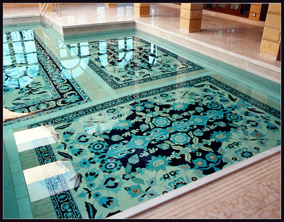 Ostentatious Persian Rug Design In Swimming Pool By Richard Afkari
