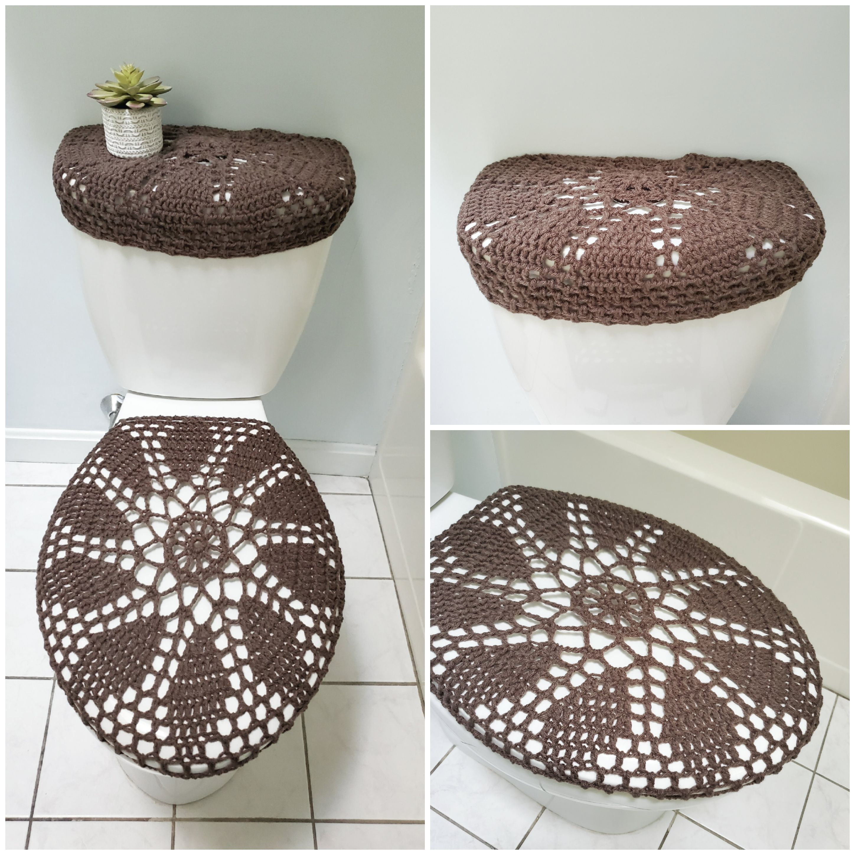 Fine Crochet Tank Lid Cover Or Toilet Seat Cover Taupe Heather Cjindustries Chair Design For Home Cjindustriesco
