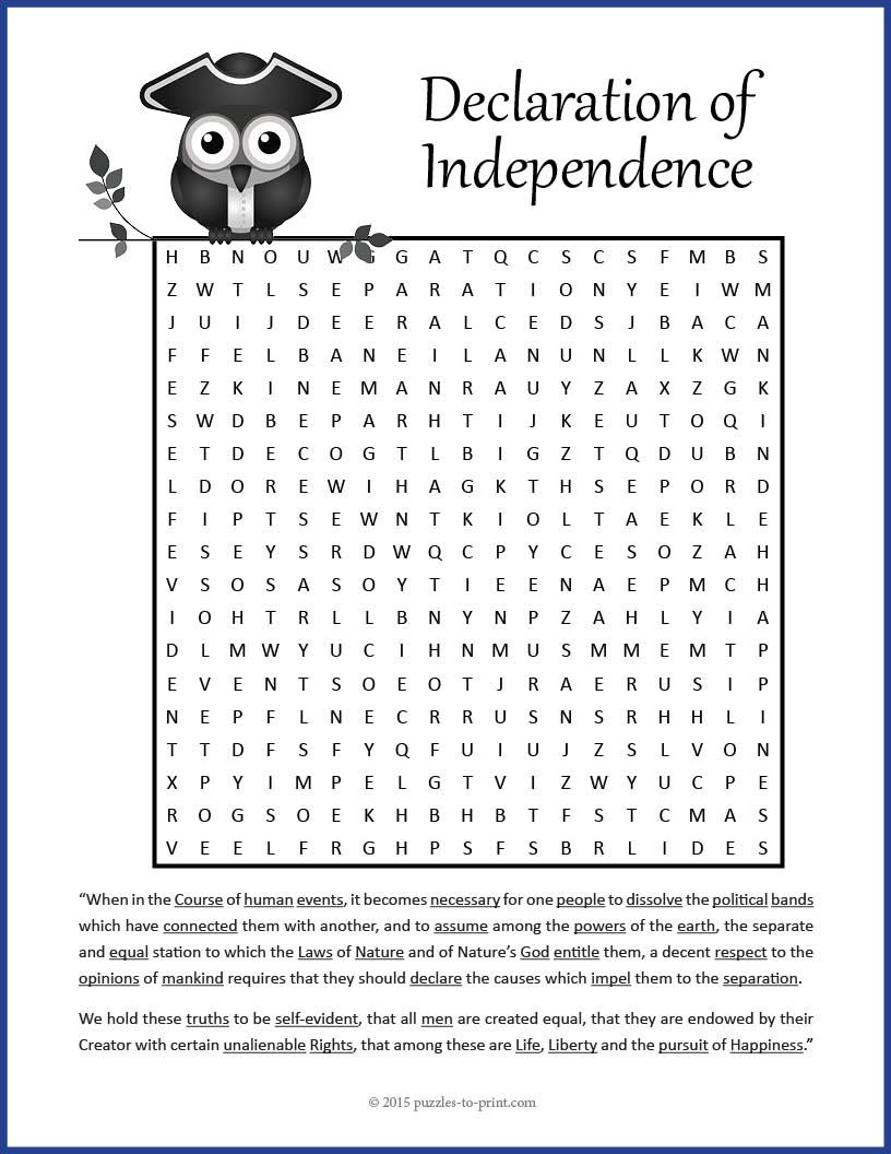 Uncategorized Declaration Of Independence Worksheet declaration of independence word search social studies search