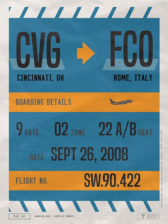 Custom Boarding Pass, Two Airport Codes Poster, Framed